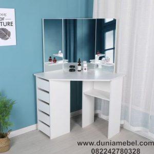 Meja Rias Sudut dengan Cermin dan Penyimpanan Terpadu