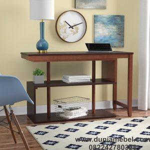 Meja Kantor Minimalis Lipat L-shape Jati