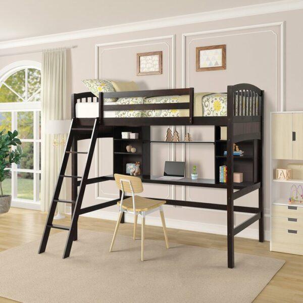 Tempat Tidur Tingkat Twin Loft dengan Meja