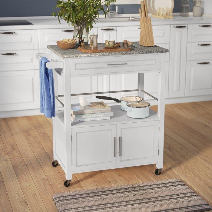 Meja Dapur Dorong dengan Top Granite